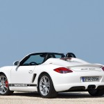 2010 White Porsche Boxster Spyder wallpaper Rear angle side view
