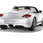 2010 White Porsche Boxster Spyder wallpaper Rear angle view