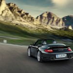 2011 Black Porsche 911 Turbo S Cabriolet Wallpaper Rear angle view