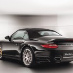 2011 Black Porsche 911 Turbo S Cabriolet Wallpaper Rear angle side view Roof on
