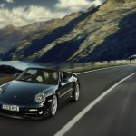 2011 Black Porsche 911 Turbo S Cabriolet Wallpaper Front angle view