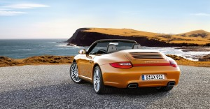 2011 Gold Porsche 911 Carrera 4 Cabriolet Wallpaper Rear angle view