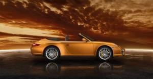 2011 Gold Porsche 911 Carrera 4 Cabriolet Wallpaper Side view