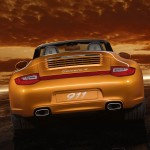 2011 Gold Porsche 911 Carrera 4 Cabriolet Wallpaper Rear view
