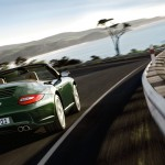 2011 Green Porsche 911 Carrera S Cabriolet Wallpaper Rear angle view
