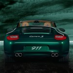 2011 Green Porsche 911 Carrera S Cabriolet Wallpaper Rear view