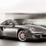 2011 Grey Porsche 911 Turbo Wallpaper Front angle side view