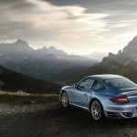 2011 Ice Blue Porsche 911 Turbo S Wallpaper Rear angle side view