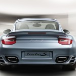 2011 Ice Blue Porsche 911 Turbo S Wallpaper Rear view