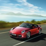 2011 Red Porsche 911 Turbo Cabriolet Wallpaper Front angle Side view
