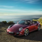 2011 Red Porsche 911 Turbo Cabriolet Wallpaper Front angle view