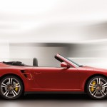2011 Red Porsche 911 Turbo Cabriolet Wallpaper Side view
