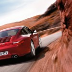 2011 Red Porsche 911 carrera 4S Wallpaper Rear angle view