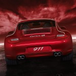 2011 Red Porsche 911 carrera 4S Wallpaper Rear view