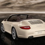 2011 White Porsche 911 Carrera Cabriolet Wallpaper Rear angle view