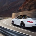 2011 White Porsche 911 Carrera GTS Cabriolet Wallpaper Rear side angle view