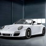 2011 White Porsche 911 Carrera GTS Cabriolet Wallpaper Front angle view