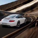 2011 White Porsche 911 Carrera GTS Wallpaper Rear angle view