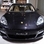 2011 black Porsche Panamera Turbo S at New York Autoshow Front view