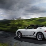 2011 Carrara White Porsche Boxster Spyder wallpaper Side angle view