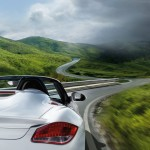 2011 Carrara White Porsche Boxster Spyder wallpaper Rear corner view