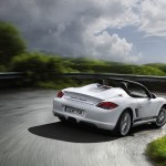 2011 Carrara White Porsche Boxster Spyder wallpaper Rear angle view