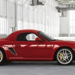 2011 Guards Red Porsche Boxster S wallpaper Side view Roof on