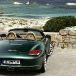 2011 Porsche Racing Green Metallic Boxster Rear view
