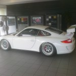 Bellet Racing 2011 white Porsche 911 GT3 Cup Car Side view