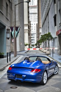 Blue 2011 Porsche Boxster Spyder Rear angle view