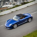Blue 2011 Porsche Boxster Spyder Side angle top view