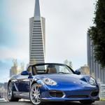 Blue 2011 Porsche Boxster Spyder Front angle view