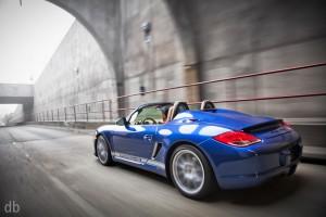 Blue 2011 Porsche Boxster Spyder Side angle view
