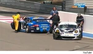 Porsche crash at 2011 Le Mans Series Le Castellet