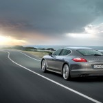 Topaz brown Metallic 2011 Porsche Panamera Turbo S wallpaper Rear angle view