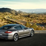 Topaz brown Metallic 2011 Porsche Panamera Turbo S wallpaper Rear Side angle view