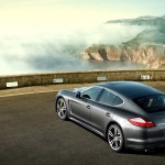Topaz brown Metallic 2011 Porsche Panamera Turbo S wallpaper Rear angle top view