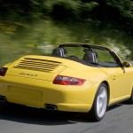 2006 Yellow Porsche 911 Carrera 4 Cabriolet Wallpaper Rear angle side view