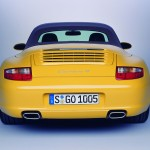2006 Yellow Porsche 911 Carrera 4 Cabriolet Wallpaper Rear view