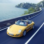 2006 Yellow Porsche 911 Carrera 4 Cabriolet Wallpaper Front angle top view