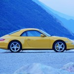 2006 Yellow Porsche 911 Carrera 4 Cabriolet Wallpaper Side view Roof on