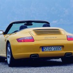 2006 Yellow Porsche 911 Carrera 4 Cabriolet Wallpaper Rear angle view