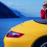2006 Yellow Porsche 911 Carrera 4 Cabriolet Wallpaper Side view