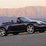 2007 Black Porsche 911 Carrera 4S Cabriolet Wallpaper Side angle view