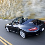 2007 Black Porsche 911 Carrera 4S Cabriolet Wallpaper Rear angle side view