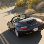 2007 Black Porsche 911 Carrera 4S Cabriolet Wallpaper Rear angle view