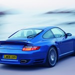 2007 Blue Porsche 911 Turbo Wallpaper Rear angle view