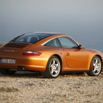 2007 Gold Porsche 911 Targa 4S Wallpaper Rear angle Side view