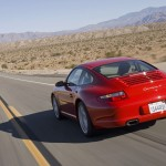 2007 Red Porsche 911 Carrera 4 Wallpaper Rear angle view