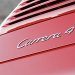 2007 Red Porsche 911 Carrera 4 Wallpaper Rear view Sign